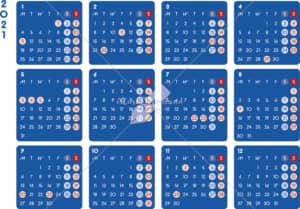 イラストデータ販売|カレンダー 2021 最新の祝日|シンプルなカレンダー A4 ダーク 横型(月曜始まり)