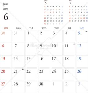 イラストデータ販売|カレンダー 2021 最新の祝日|6月 シンプルなカレンダー A4 1ヶ月毎(日曜始まり)