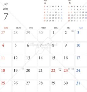 イラストデータ販売|カレンダー 2021 最新の祝日|7月 シンプルなカレンダー A4 1ヶ月毎(日曜始まり)