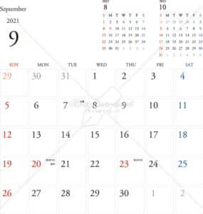 イラストデータ販売|カレンダー 2021 最新の祝日|9月 シンプルなカレンダー A4 1ヶ月毎(日曜始まり)