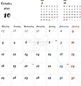 イラストデータ販売|カレンダー 2021 最新の祝日|10月 シンプルなカレンダー 手書き風 A4 1ヶ月毎(月曜始まり)