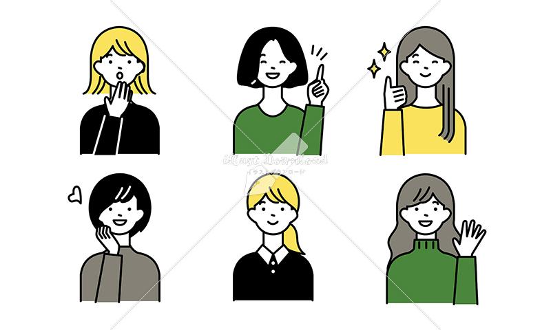 イラストデータ販売|ポジティブな女性とハンドサイン セット イラストデータ