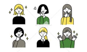 イラストデータ販売|ポジティブな女性とハンドサイン2 セット イラストデータ