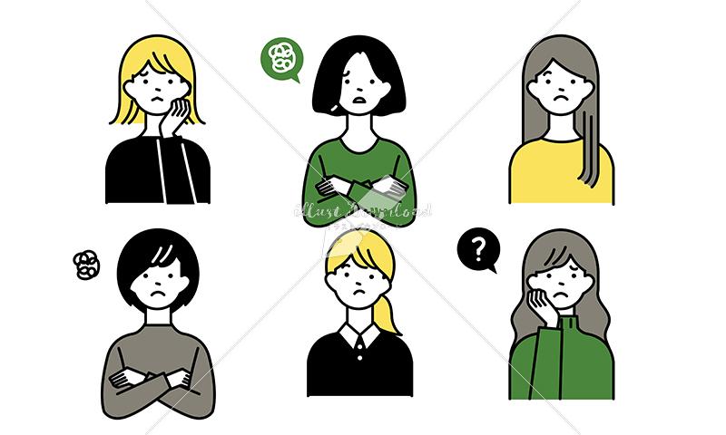 イラストデータ販売|ネガティブな女性とハンドサイン セット イラストデータ