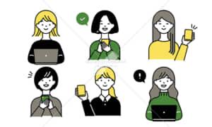 イラストデータ販売|パソコンとスマホを使う女性 セット イラストデータ