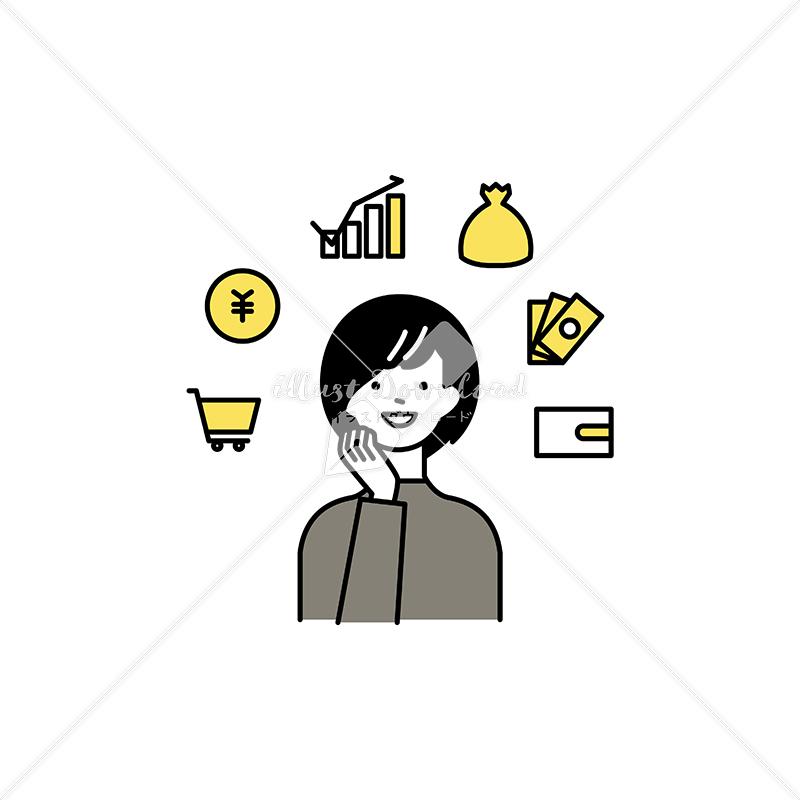 イラストデータ販売|貯蓄やポイントを楽しむ女性 イラストデータ