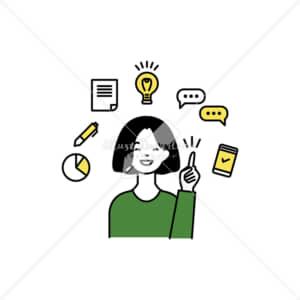 イラストデータ販売|スマホ活用をひらめいた女性 イラストデータ