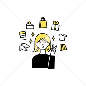 イラストデータ販売|ショッピングを楽しむ女性 イラストデータ