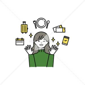 イラストデータ販売|旅行や外食を楽しむ女性 イラストデータ