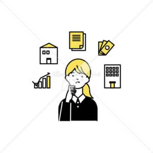イラストデータ販売|住宅ローンやお金で悩む女性 イラストデータ