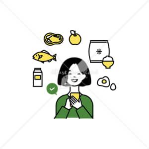 イラストデータ販売|スマートフォンで生鮮食品を注文する女性 イラストデータ