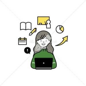 イラストデータ販売|ノートパソコンで授業を受ける女性 イラストデータ