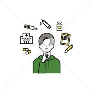 イラストデータ販売|ワクチン接種で悩む男性 イラストデータ
