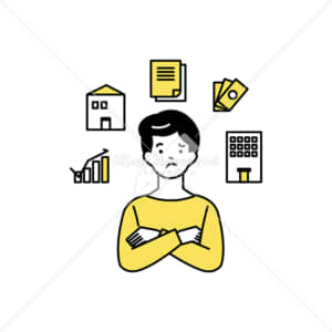 イラストデータ販売|住宅ローンやお金で悩む男性 イラストデータ