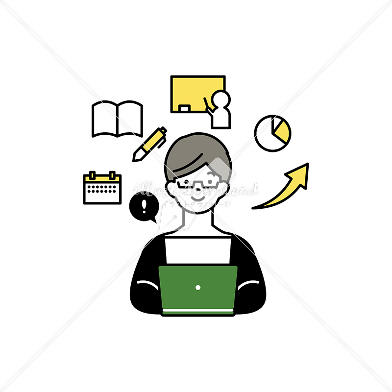 イラストデータ販売|ノートパソコンで授業を受ける男性 イラストデータ