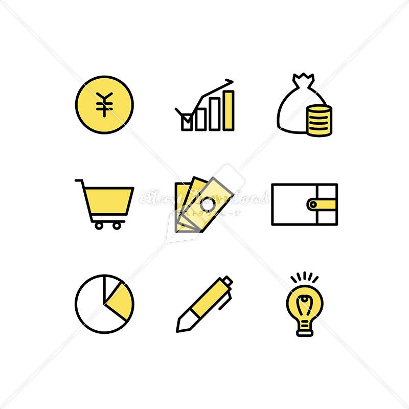 イラストデータ販売|お金やポイントのアイコン素材セット イラストデータ
