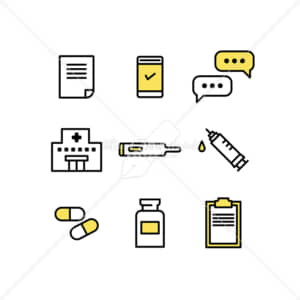 イラストデータ販売|ワクチン接種と医療のアイコン素材セット イラストデータ