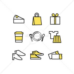 イラストデータ販売|ショッピングのアイコン素材セット イラストデータ