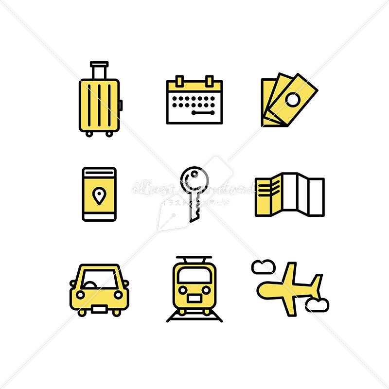 イラストデータ販売|旅行のアイコン素材セット イラストデータ