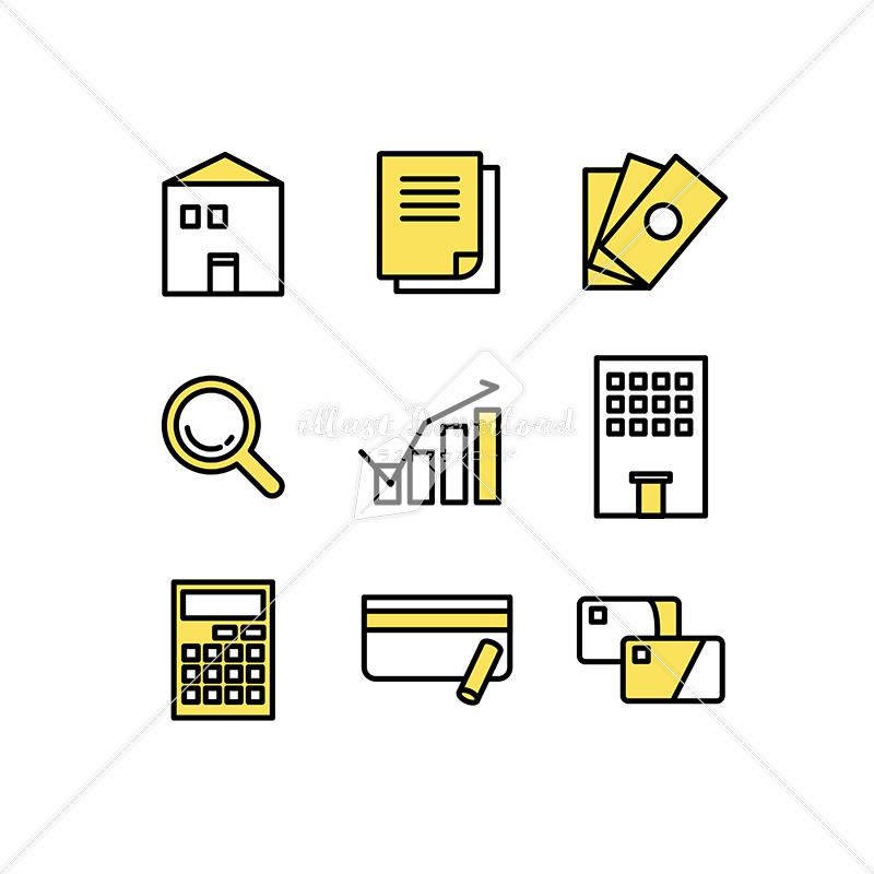 イラストデータ販売|住宅ローンや審査のアイコン素材セット イラストデータ
