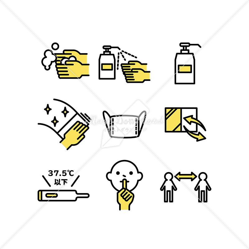 イラストデータ販売|手洗いや除菌予防のアイコン素材セット イラストデータ