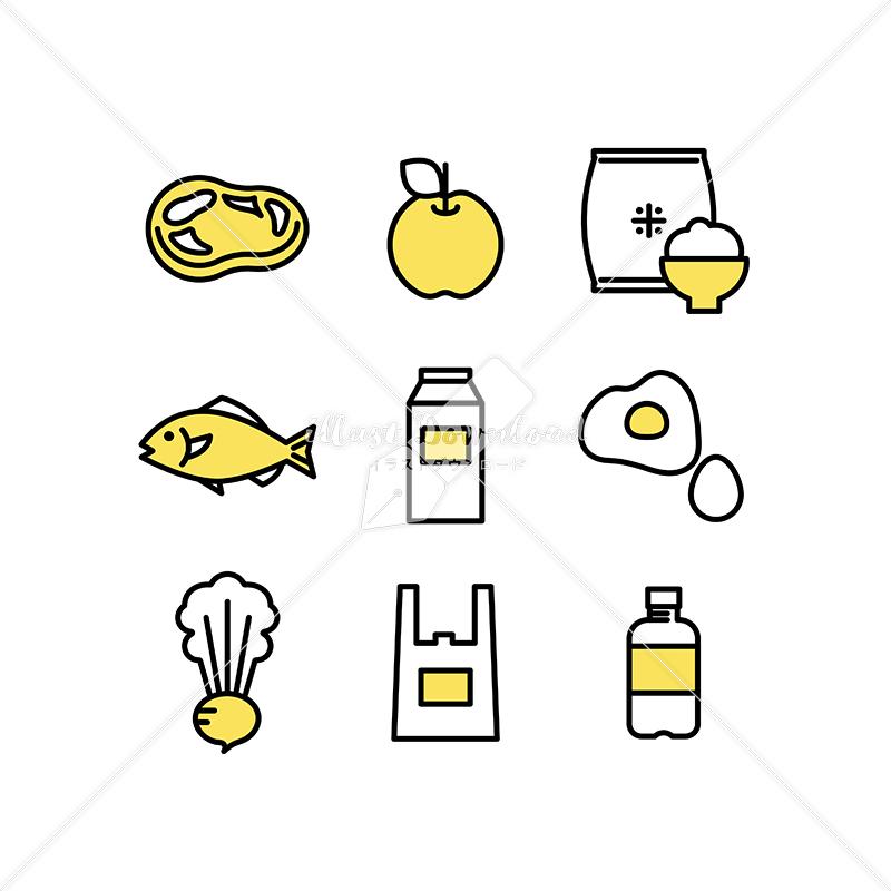 イラストデータ販売|生鮮食品やスーパーのアイコン素材セット イラストデータ
