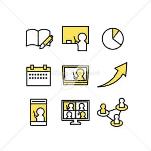 イラストデータ販売|テレワークや授業のアイコン素材セット イラストデータ