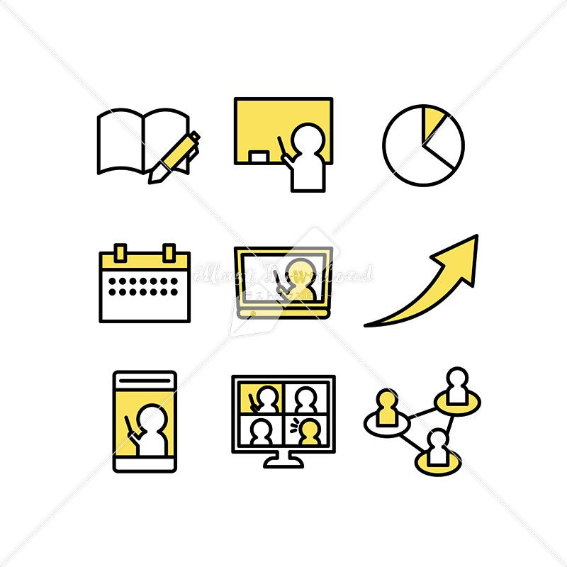 イラストデータ販売 テレワークや授業のアイコン素材セット イラストデータ