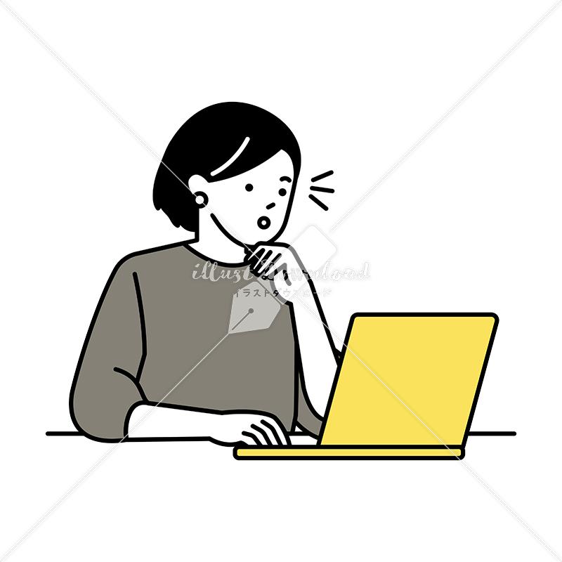 イラストデータ販売|ノートパソコンで仕事をする女性 気づき イラストデータ