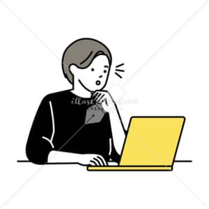 イラストデータ販売|ノートパソコンで仕事をする男性 気づき イラストデータ