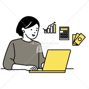 イラストデータ販売|ノートパソコンで家計を管理する女性 イラストデータ