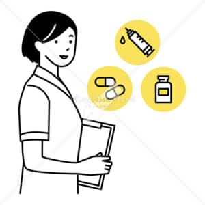 イラストデータ販売|ワクチンやお薬についてご相談ください 女性 イラストデータ