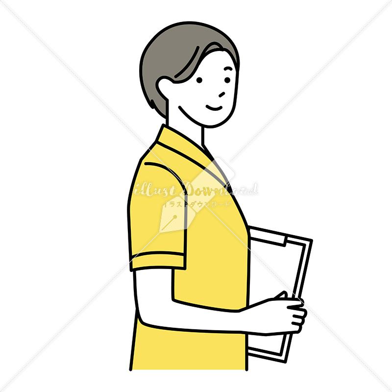 イラストデータ販売 問診票を持った男性 イラストデータ