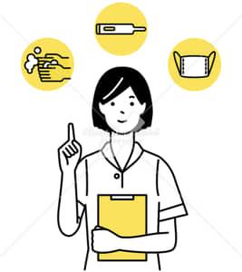 イラストデータ販売|手洗い 検温 マスクを励行する女性 イラストデータ