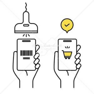 イラストデータ販売|キャッシュレス支払い スマートフォン イラストデータ