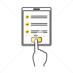イラストデータ販売|タブレット端末で確認完了を押す 手 イラストデータ