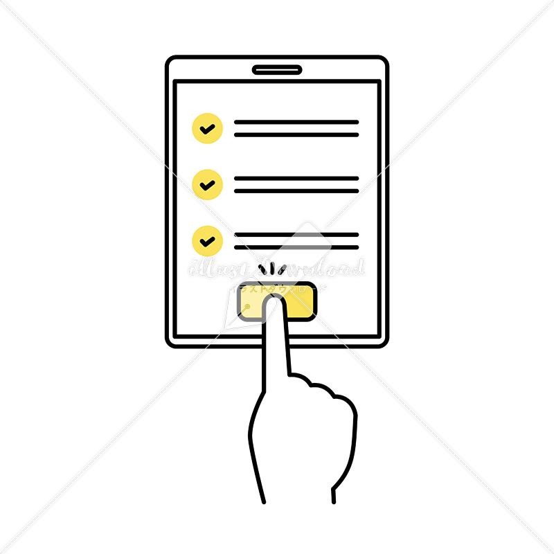 イラストデータ販売 タブレット端末で確認完了を押す 手 イラストデータ
