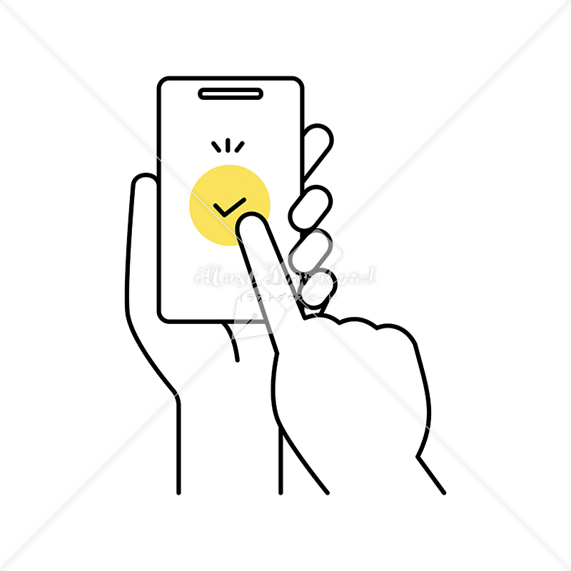 イラストデータ販売 スマートフォンで支払いやブックマークをする 手 イラストデータ