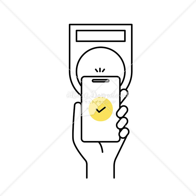 イラストデータ販売|スマートフォンで端末にかざして支払いをする 手 イラストデータ