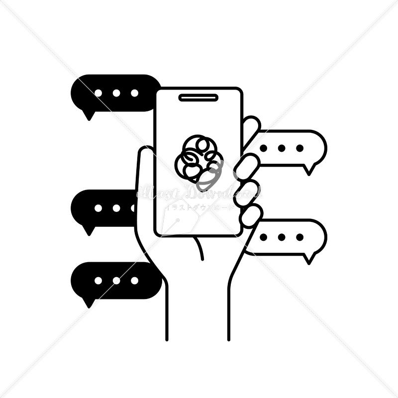 イラストデータ販売 情報過多と社会問題 吹き出しとスマートフォンと手 イラストデータ