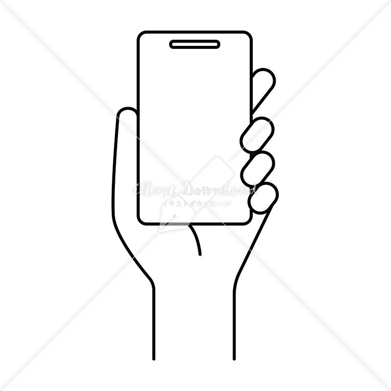 イラストデータ販売|シンプルなスマートフォンと手 イラストデータ