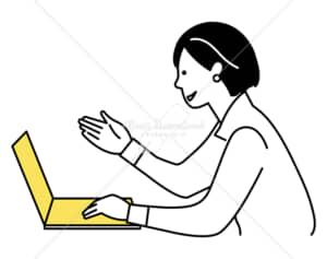 イラストデータ販売|ノートパソコンでテレワークをする女性 イラストデータ