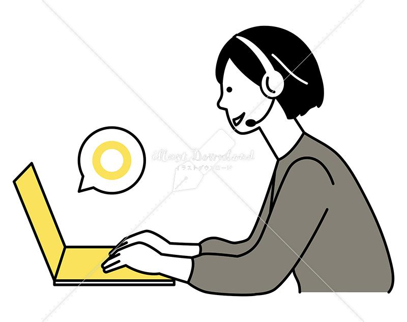 イラストデータ販売|テレワーク ヘッドホンを付けた女性 イラストデータ