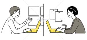 イラストデータ販売|テレワークをする男女 2拠点 イラストデータ