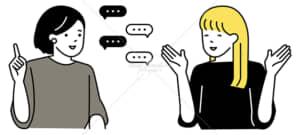 イラストデータ販売|会話をする女性 2人 イラストデータ