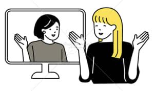 イラストデータ販売|パソコンの画面越しに会話をする女性 2人 イラストデータ