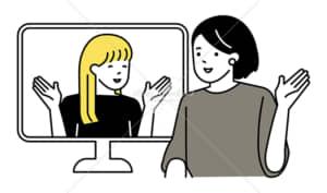 イラストデータ販売|英会話を楽しむ女性 2人 イラストデータ