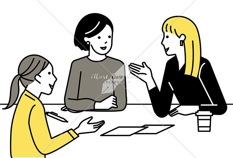 イラストデータ販売|ミーティングをする女性 3人 イラストデータ