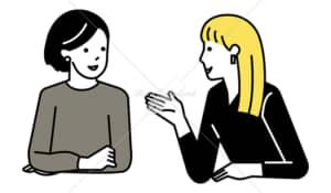 イラストデータ販売|ミーティングをする女性 2人 イラストデータ