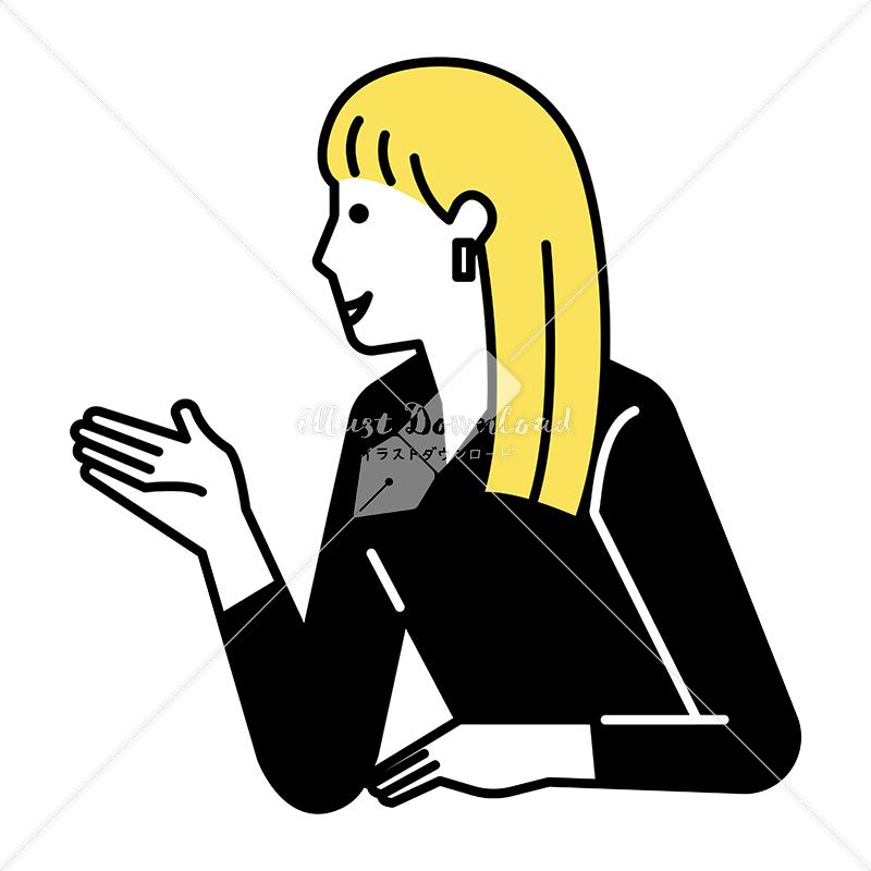 イラストデータ販売|会話をする女性 上半身 一人 3 イラストデータ